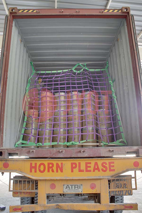 CONTAINER STUFFING WITH NET.