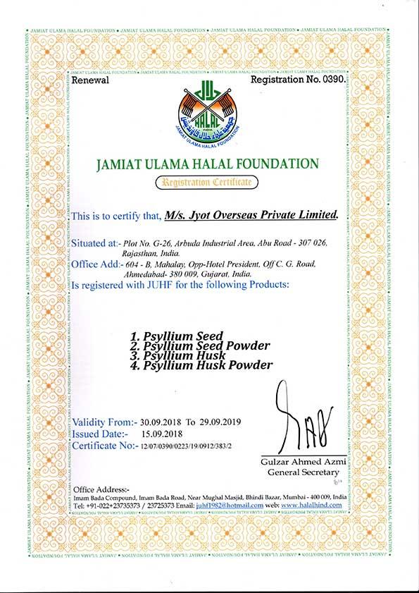 Halal Certificate 2018-2019